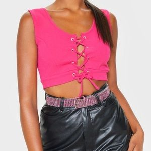 Pink Lace Up Crepe Crop Top